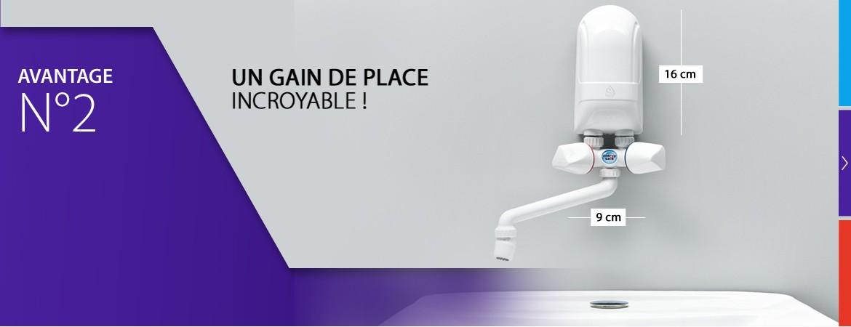 De par sa taille très compacte et sa légèreté, le mini chauffe-eau DAFI peut être installé à n'importe quel endroit.